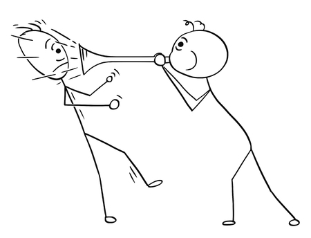 Cartoon of man playing with horn Illustration