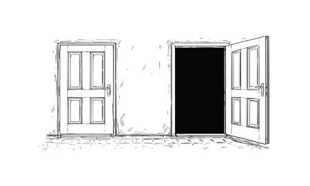 Cartoon vector doodle drawing of two open and close wooden decision door. Two choices or ways. 版權商用圖片 - 91322912