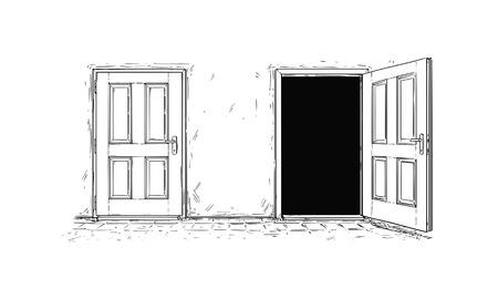 Kreskówka wektor doodle rysunek dwóch otwartych i zamkniętych drewnianych drzwi decyzji. Dwie opcje lub sposoby.