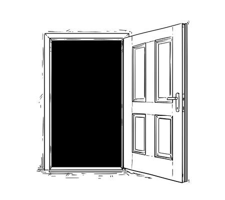 Cartoon vector doodle drawing illustration of open wooden decision door.