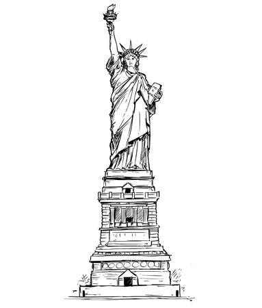Karikaturvektorarchitekturzeichnungs-Skizzenillustration von Freiheitsstatuen Vereinigter Staaten New York. Standard-Bild - 91615334