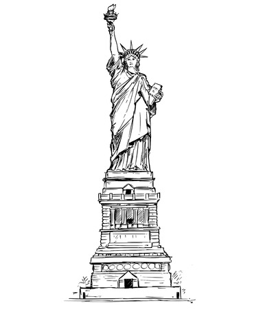 Cartoon vector architectural drawing sketch illustration of United States New York Statue of Liberty. Stock Photo