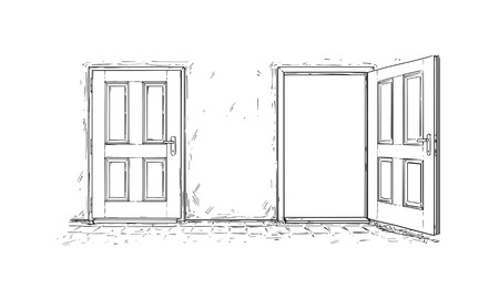 Cartoon vector doodle drawing of two open and close wooden decision door. Two choices or ways.