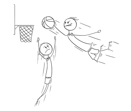 Cartoon stick man drawing illustration of basketball player jumping and scoring goal. Иллюстрация