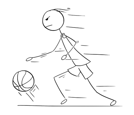 Cartoon stick man drawing illustration of basketball player running and dribbling with ball.