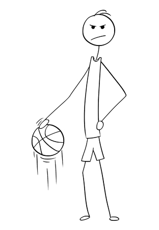 Cartoon stick man drawing illustration of angry tall basketball player posing and dribbling with ball.