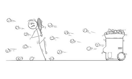 Cartoon stokmens tekening illustratie van man mannelijke speler die zichzelf beschermt bij het spelen tegen tennis training bal launcher machine.