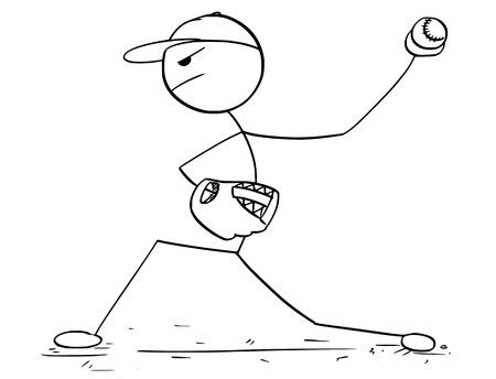 Cartoon stick man drawing illustration of male baseball player pitcher.