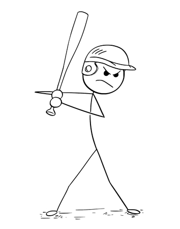 Cartoon stick man drawing illustration of male baseball player batter.