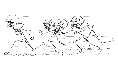 Cartoon stick man drawing illustration of american football player running with ball pursued by defenders
