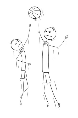 Cartoon stick man drawing illustration of two basketball player to catch or gain ball.