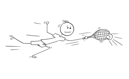 Cartoon stick man drawing illustration of one man male tennis player playing ball with racket.