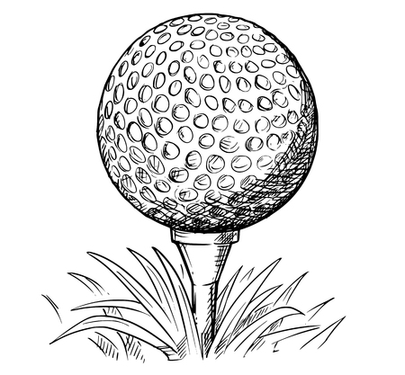 Vector hand drawing drawn illustration of golf ball on tee and grass. Vectores