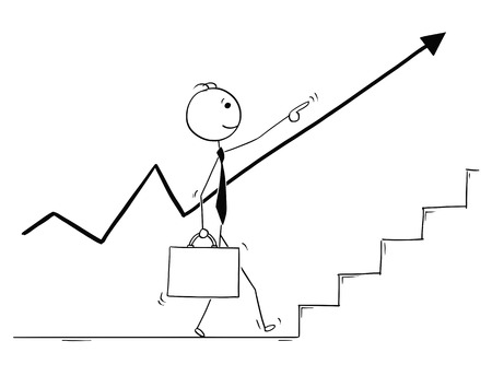 Cartoon stick man drawing conceptual illustration of walking businessman pointing up and front and following the rising growth chart arrow. Concept of the way of success.