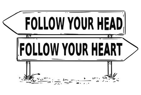 あなたの聞き取りやハートビジネス決定トラフィック矢印記号に従うベクトル描画。