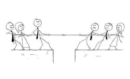 Karikaturstockmann, der Begriffsillustration des Geschäftslokalteamwettbewerbs des Tauziehens zeichnet. Vektorgrafik