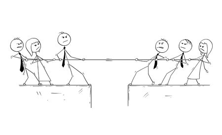 Cartoon stick man drawing conceptual illustration of business office team competition of tug of war. Illustration
