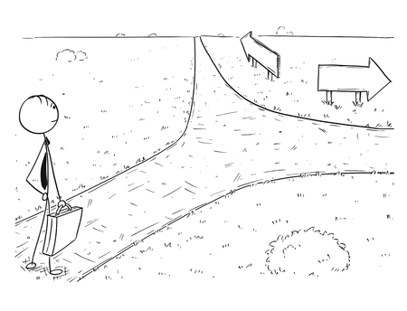 Cartoon stick man drawing illustration of businessman standing on the crossroad and making choice or decision. Concept of business career opportunities and choices. Vectores