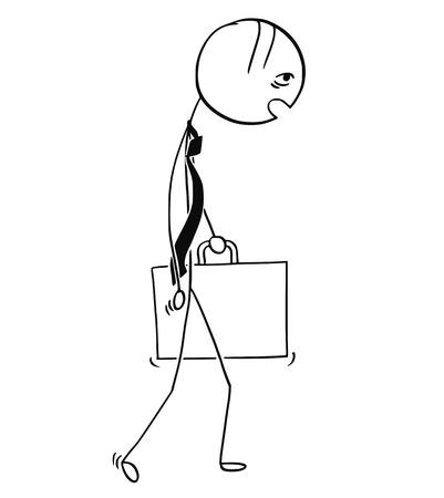 仕事から家に歩いて帰るブリーフケースを持つ疲れと過労のビジネスマンのイラストを描く漫画スティック男。