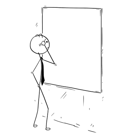 Cartoon stick man concept drawing illustration of businessman looking at empty blank wall board poster. Çizim