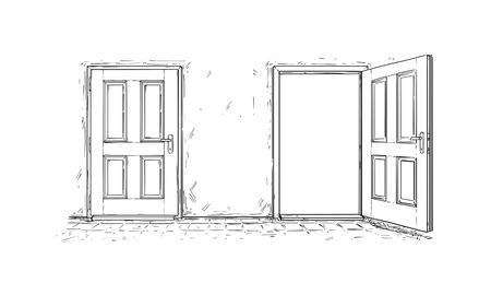 Vector de dibujos animados doodle dibujo de dos puertas de decisión de madera abierta y cerrar. Dos opciones o formas