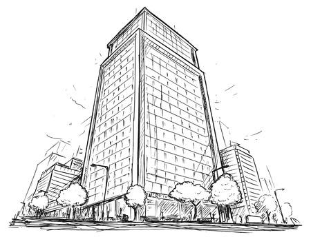 Karikaturvektorarchitekturzeichnungs-Skizzenillustration der Stadtstraße mit hohem Aufstiegsgebäude.
