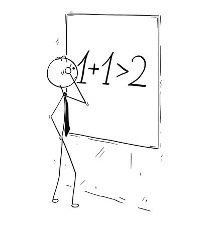 Cartoon stokmens concept tekening illustratie van zakenman kijken en berekenen op wandbord. Concept van zakelijke synergie.