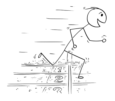 Stick man drawing illustration of man at finish line winning the race run.