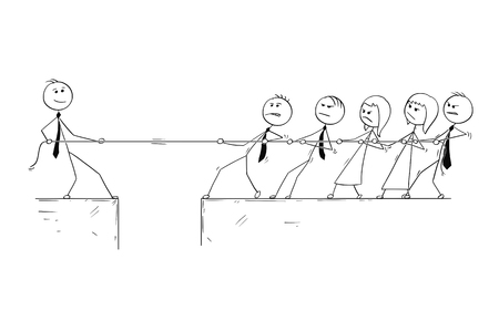 Cartoon stick man drawing conceptual illustration of unique individuality contribution value compared with team of average business people. Competition of tug of war. Illustration