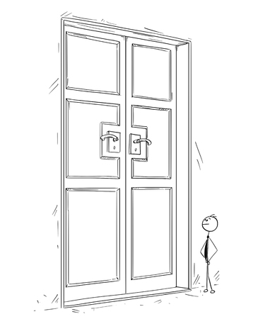 Cartoon stick man drawing conceptual illustration of business man standing in front of large closed door. Concept of searching of problem solution.