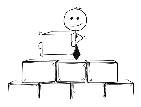 Cartoon stick man drawing conceptual illustration of business man building from bricks or blocks.