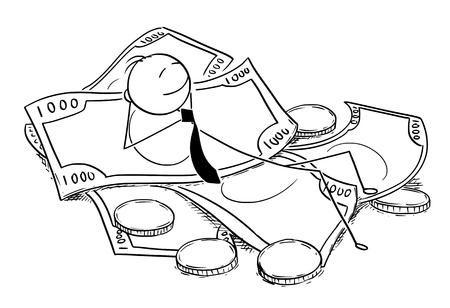 Cartoon stokmens tekening conceptuele illustratie van zakenman genieten liggend op stapel geld, munten en bankbiljetten. Concept van zakelijk financieel succes.