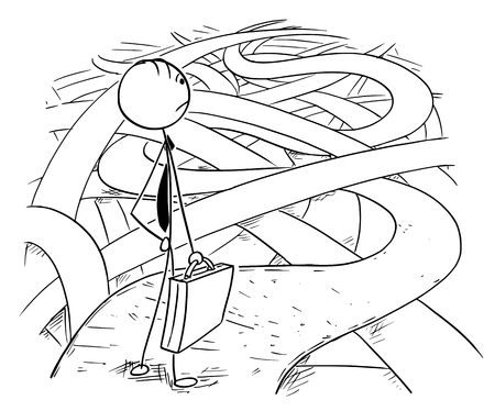 Cartoon stick man drawing conceptual illustration of businessman facing the challenges and difficulties of business financial crisis standing on the chaos of roads and ways.