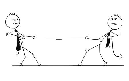 Hombre del palillo de la historieta que dibuja la ilustración conceptual de dos hombres de negocios que juegan esfuerzo supremo con la cuerda. Concepto de competencia de equipo de negocios.