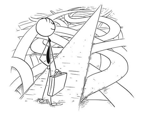 Cartoon stick man rysunek koncepcyjny ilustracja biznesmena, który znalazł łatwą i bezpieczną drogę przez chaos kryzysu. Ilustracje wektorowe