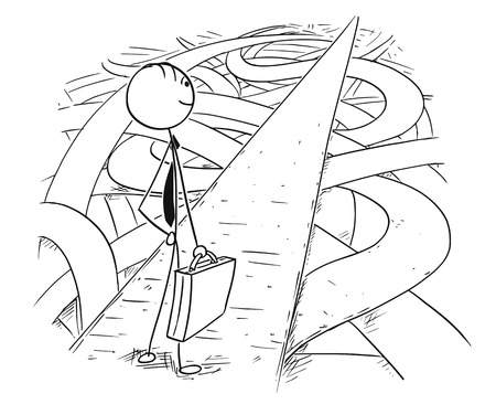 Cartoon stick man drawing conceptual illustration of businessman who found easy and secure way through chaos of crisis. Stock Illustratie