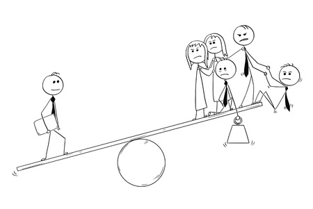 Cartoon stick man drawing conceptual illustration of unique individuality contribution value compared on scale with team of average business people.