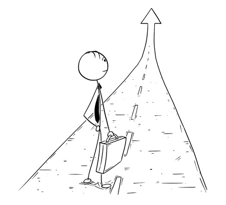 Cartoon stick man drawing conceptual illustration of businessman standing on the road or way leading to career success.