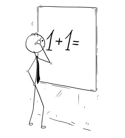 Cartoon stick man concept drawing illustration of businessman looking and calculating on wall board.