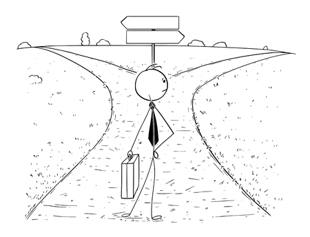 Cartoon stick man drawing illustration of businessman standing on the crossroad with empty blank arrow signs and making choice or decision. Concept of business career opportunities and choices.