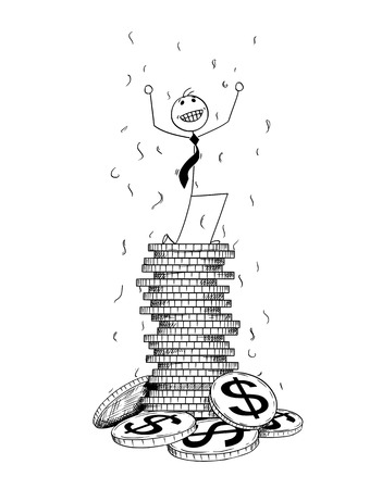Cartoon stick man drawing conceptual illustration of businessman enjoying or celebrating on pile or stack of Dollar coins. Concept of business success. Vectores