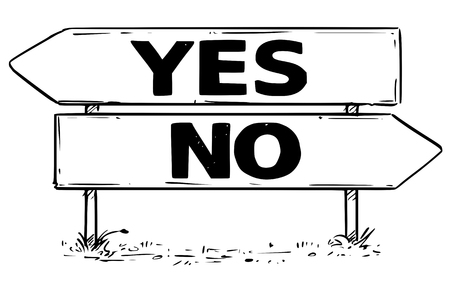 Vector drawing of yes or no business decision traffic arrow sign. Иллюстрация