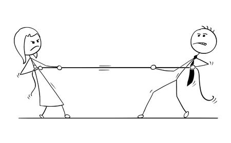 Karikaturstockmann, der Begriffsillustration des Geschäftsmannes und der Geschäftsfrau spielen Tauziehen mit Seil zeichnet. Konzept des Geschäftsteamwettbewerbs.