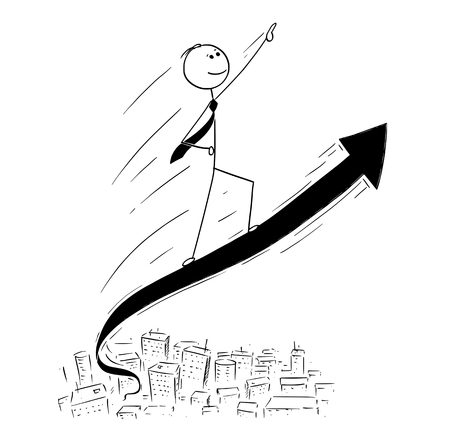 Cartoon stick man drawing conceptual illustration of businessman ride high on the rising arrow graph. Concept of business, financial or investment success.