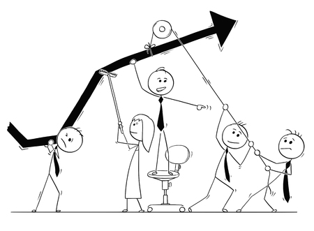 Cartoon stick man drawing conceptual illustration of group of business people working together as team on growth chart to achieve success and profit. Concept of teamwork.