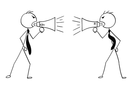 Cartoon stick man drawing conceptual illustration of two angry businessmen using megaphone to talk to each other.