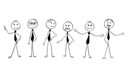 Cartoon stick man drawing illustration of crowd of six business people, men, businessmen standing and posing.