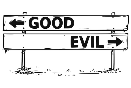 Vector drawing of good or evil business decision road block arrow sign. Illustration