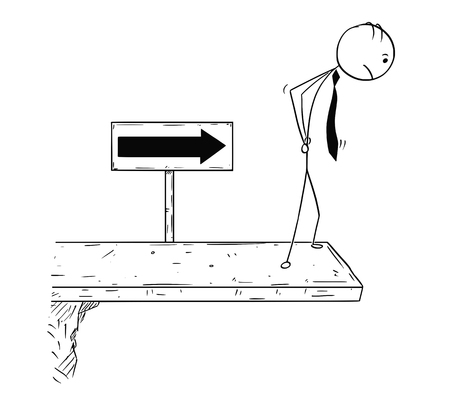 Cartoon stick man concept drawing illustration of businessman standing on the end of the road or bridge. Concept of break of the business career.