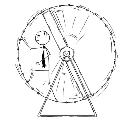 Cartoon stick man drawing conceptual illustration of exhausted businessman in squirrel wheel doing ineffective routine job. 矢量图像